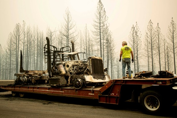 Photos: Truckers Abandon Big Rigs to Escape Northern California Wildfire