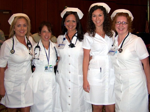 Nurses Don Throwback Uniforms