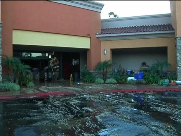 Flooding Damages Solana Beach Shops