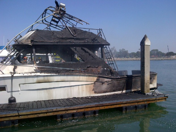 Boat Scorched in Harbor Island Fire