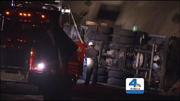 [LA] Truck Overturns, Spilling Fuel and Causing Shutdown of Highway 38