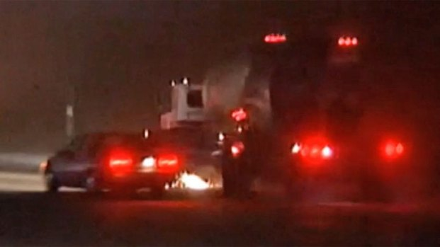 [STRINGER] WARNING GRAPHIC VIDEO: Cement Truck Collision