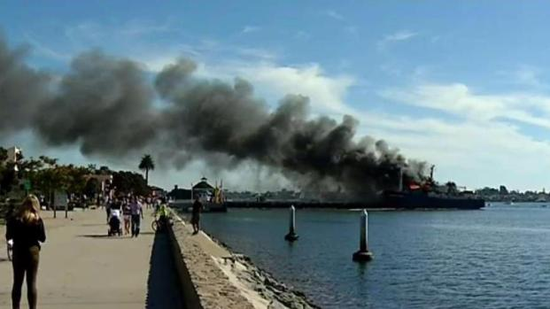 Cleanup Efforts Underway On Ship Scorched At San Diego