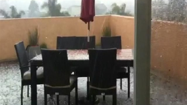 [DGO] Hail Falls in Solana Beach: Raw Video