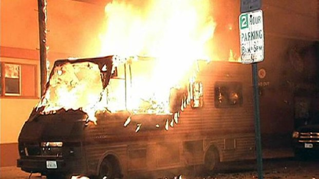 Motor Home Explodes, Trapping Man Inside