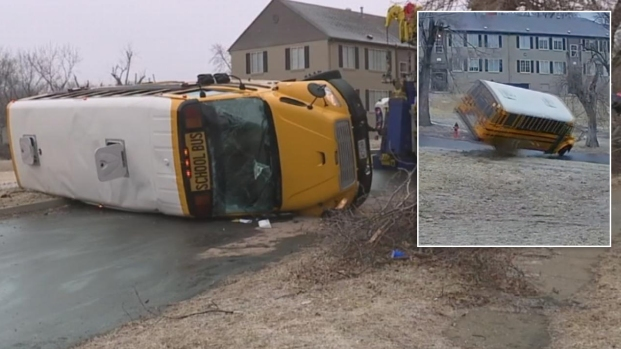 [NATL] School Bus Flips on Icy Kansas City Road