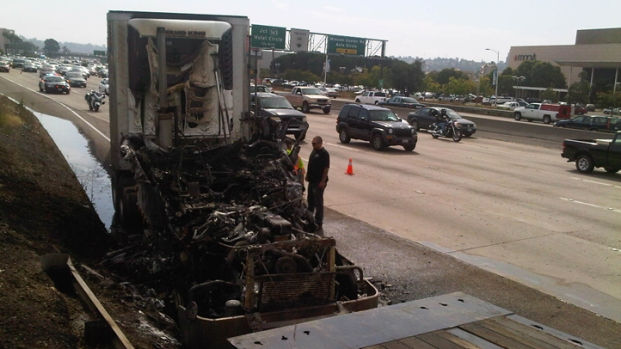 Fire Destroys Big Rig on Freeway