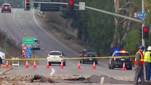 Giant Sinkhole Causes Traffic Chaos Along Mission Bay Drive