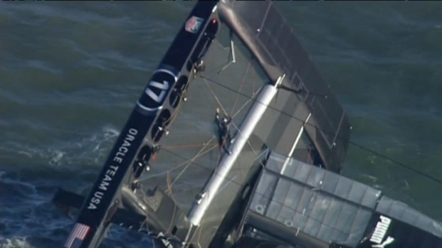[BAY] Raw Video: America's Cup Oracle Boat Capsizes in Bay