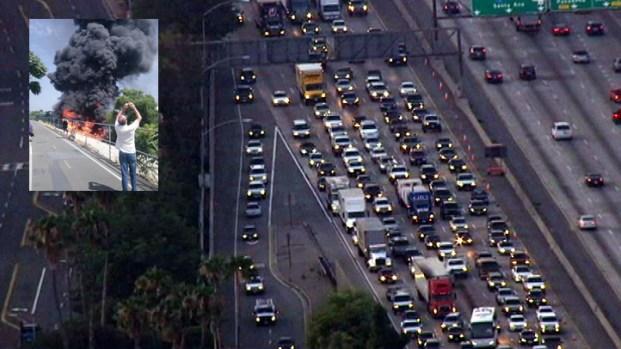 [LA] Tanker Fire Closures Slow Monday Drive