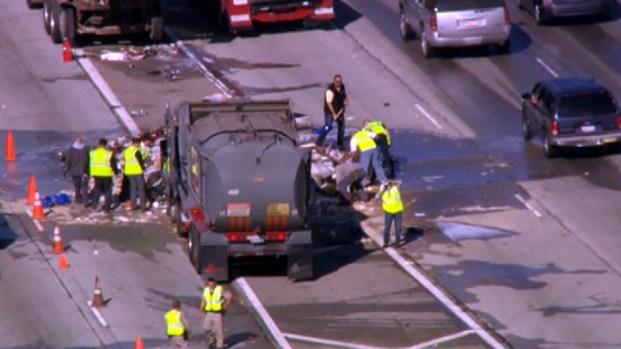 Sanitation Truck Spill in Sylmar Slows Holiday Traffic