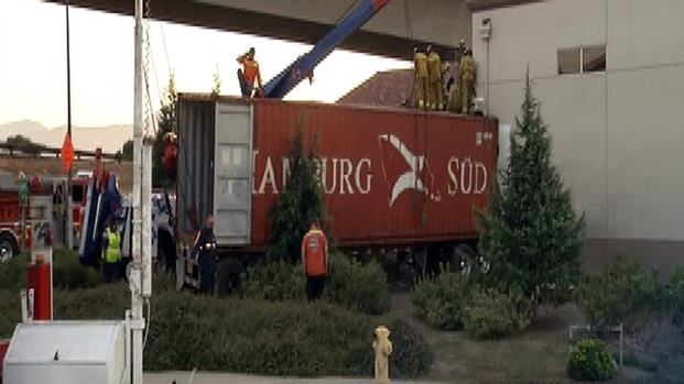 Big Rig Crashes Into Caltrans Building
