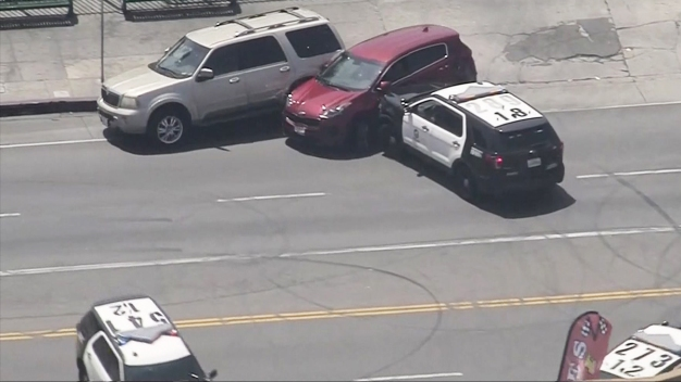 Police Ram into Stolen SUV to End Chase Through South LA