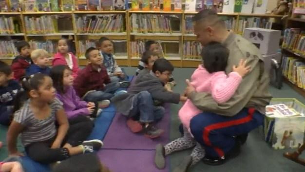 Marine Surprises His Children at School