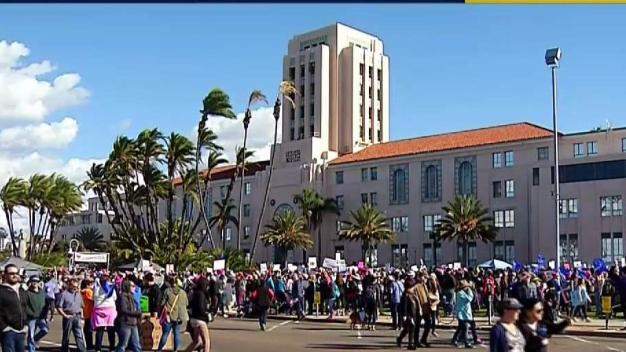 2nd Annual Women's March Draws Large Crowds in San Diego