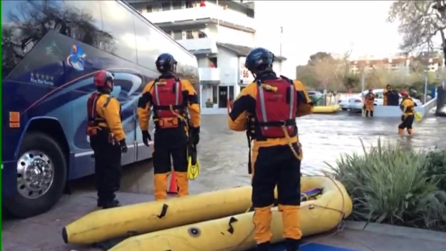 Hotel Guests Stranded by Rising San Diego River