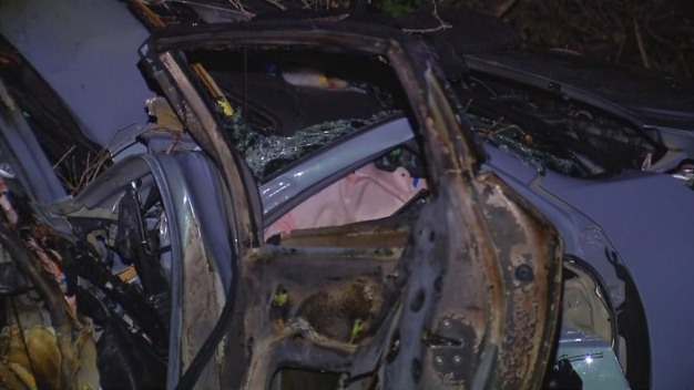 Car's Horn Still Honking After Fiery Crash in Escondido