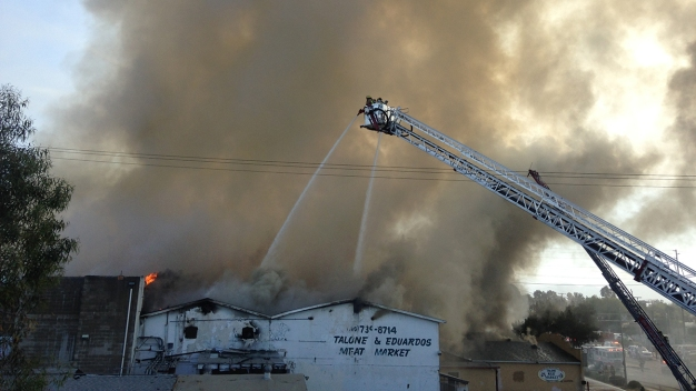 Flames, Smoke Fill Escondido Amid Building Fire
