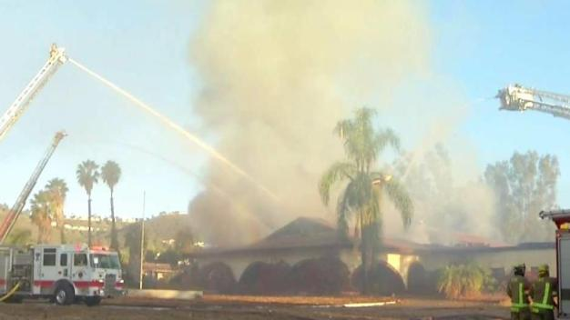 Crews Gaining Ground on Escondido Building Fire