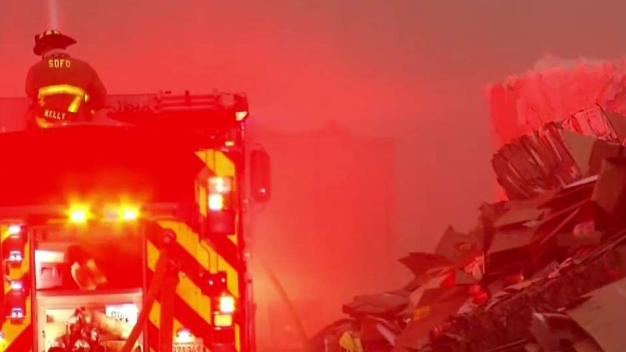 Fire at Cardboard Recycling Center