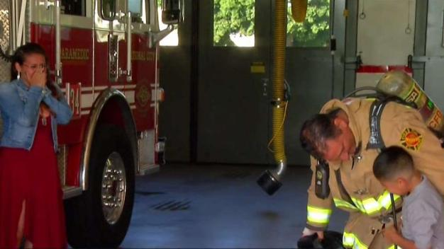 Firefighters Help Army Vet Surprise Family