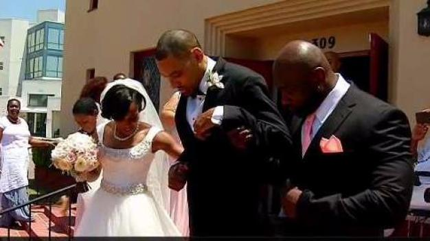 Injured Olympian Walks on Wedding Day