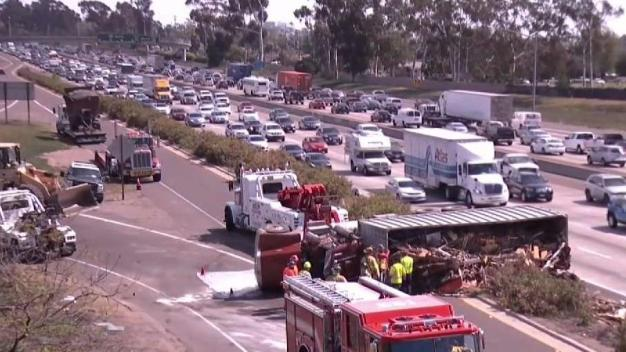 Overturned Semi off I-805 Cleared After Heavy Traffic