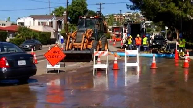Pacific Beach Water Main Break Slows Traffic