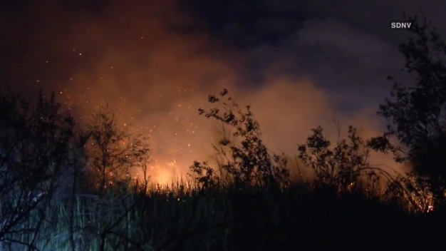 WATCH: Video of the Fire in Riverbed Between Chula Vista & San Diego