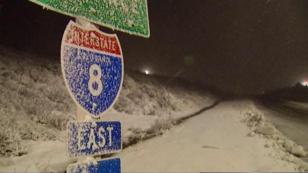 Snow, Boulder Hamper Travel on I-8