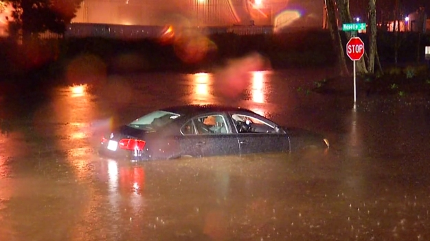 Cars Trapped in Flooded Sorrento Valley Streets
