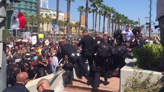 Protests Outside Trump Rally Turn Violent, 3 Arrested