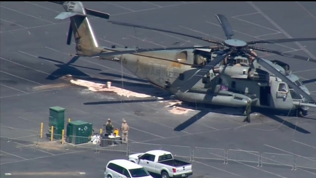 WATCH: Marine Helicopter Moved Off Beach