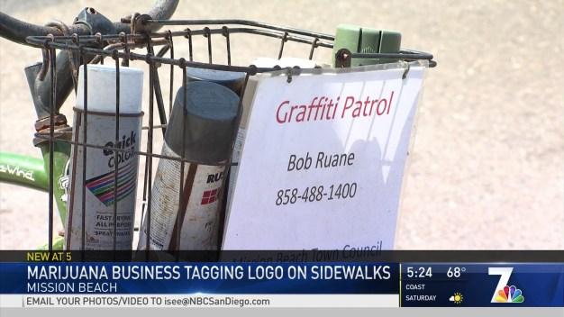 Cannabis Dispensaries Painting Logos on Sidewalk