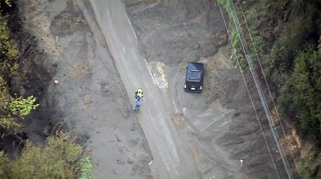 Mudslides Trap Cars on Canyon Road Near Malibu