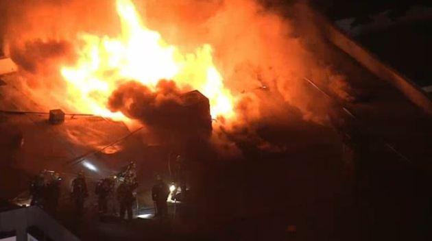 Flames Erupt From Strip Mall in Van Nuys