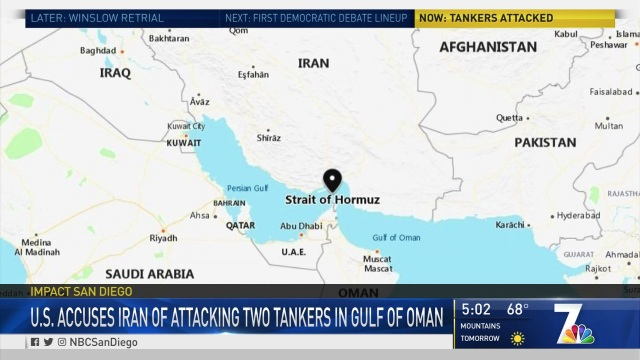 U.S Accuses Iran of Attacking 2 Tankers in Gulf of Oman
