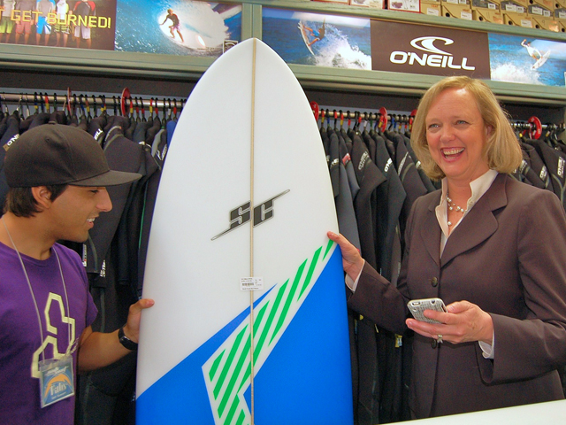 Meg Whitman Buys Surfboard in OB