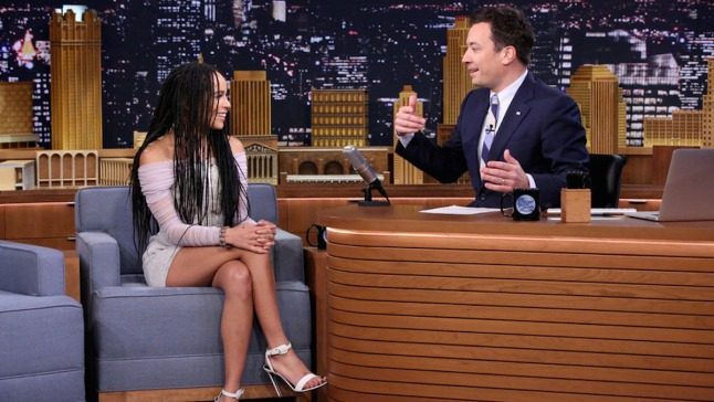 Jimmy Fallon and Zoe Kravitz Play Giant Beer Pong