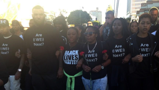 """Thousands of """"Millions March"""" Protesters Take to LA Streets Against Police Brutality"""