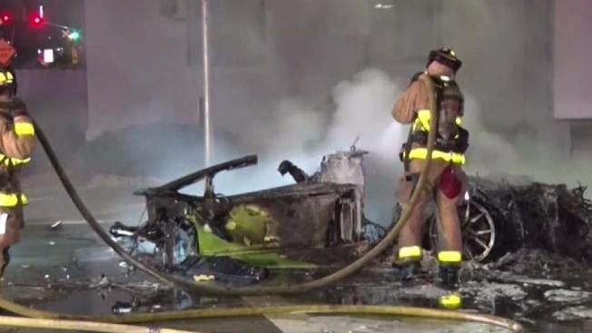 1 killed, 1 hurt after lamborghini crashes and bursts into flames