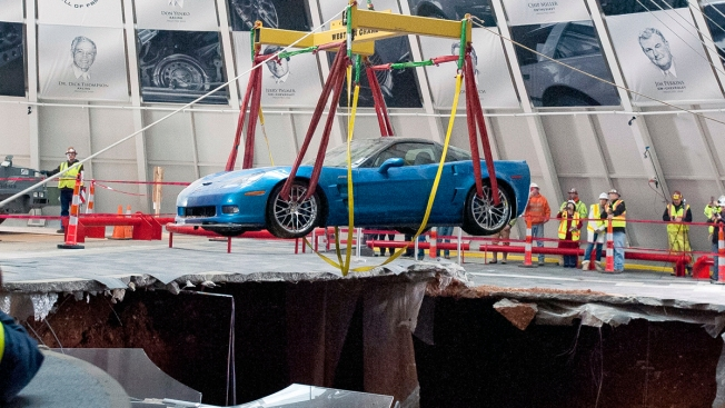 First 2 Corvettes Hoisted From Sinkhole Under Ky. Museum