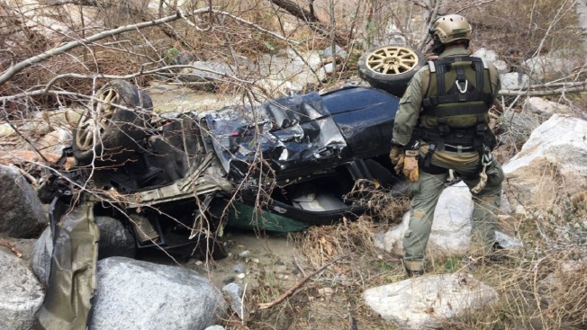 Car Plunges 200 Feet off North Angeles Forest Highway