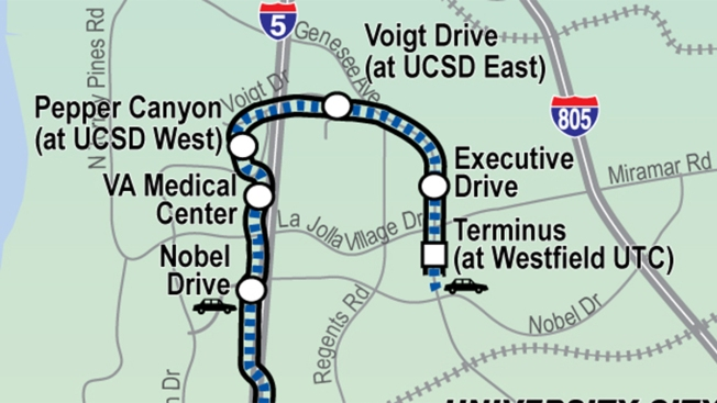 $2.17B Mid-Coast Trolley Project Reaches Milestone: It's ... on trolley map san francisco, miami trolley system map, san diego zoo map, trolley route in dallas, charlotte light rail map, trolley bar map, pittsburgh trolley map, denver light rail map, trolley trail map,