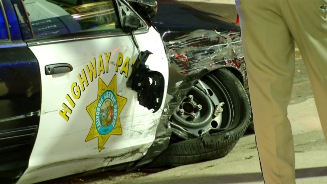CHP Cruiser Crashes During Pursuit