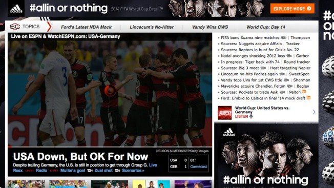 World Cup Fans Bring Down ESPN Streaming Service During U.S.-Germany Game