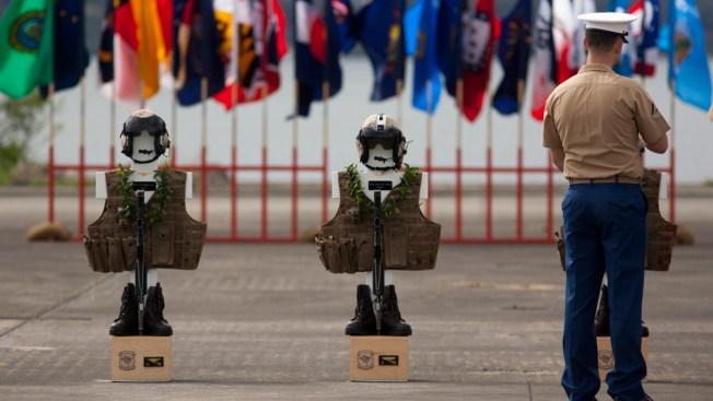 Flight Gear Adorns Crosses for 12 Marines Killed in Hawaii