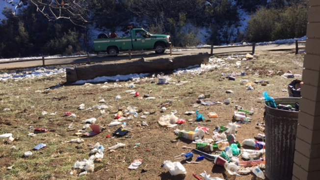 Mt. Laguna 'Overwhelmed' With Trash After Busy, Snowy Weekend