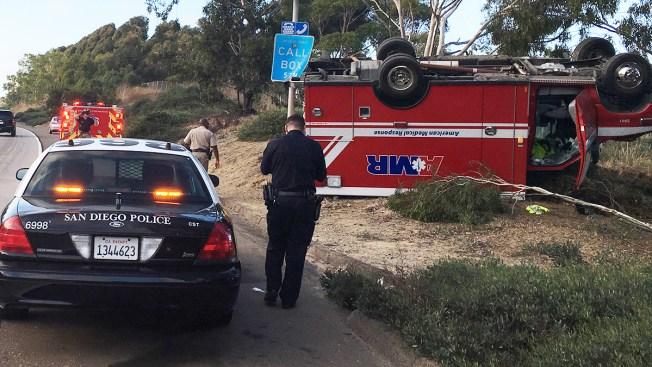 Ambulance Flips Onto Roof on Interstate 5 Near Nobel