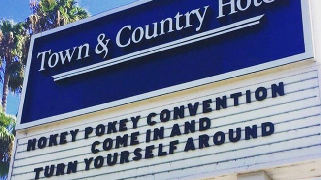 San Diego's Town and Country Hotel Uses Marquee for Funny Messages